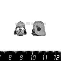 Бусина Премиум Дарт Вейдер 12*10 мм, с бесцветными микроцирконами, внутреннее отверстие 3 мм, чёрное родирование, 1 штука 064129 - 99 бусин