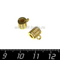 Бейл Премиум Милано с микроцирконами 9*7 мм, внутреннее отверстие 2,8 мм, цвет золото, 1 штука 064142 - 99 бусин