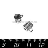 Бейл Премиум Милано с микроцирконами 9*7 мм, внутреннее отверстие 2,8 мм, родированный, 1 штука 064143 - 99 бусин