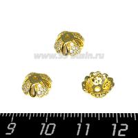 Шапочка для бусин Премиум 4 сердца с микроцирконами 10*4 мм, цвет золото, 2 штуки (1 пара) 064146 - 99 бусин
