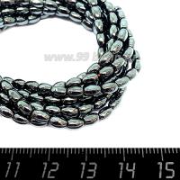 Натуральный камень ГЕМАТИТ  рис 5,2*3,4 мм, цвет натуральный, 40 см/нить 064154 - 99 бусин