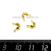 Концевики каллоты (скуфейки) зажимные, нержавеющая сталь (stainless steel) покрытие оксид титана, цвет золото, 5 пар (10 шт.) 064175 - 99 бусин