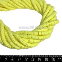 """Бусины """"Диски"""" резиновые, размер 6*1 мм, цвет лимонный, около 43 см/нить 064186 - 99 бусин"""