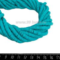 """Бусины """"Диски"""" резиновые, размер 6*1 мм, цвет Изумрудный, около 43 см/нить 064192 - 99 бусин"""