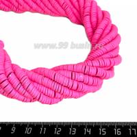 """Бусины """"Диски"""" резиновые, размер 6*1 мм, цвет розовый, около 43 см/нить 064200 - 99 бусин"""