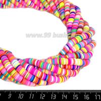 """Бусины """"Диски"""" резиновые, размер 6*1 мм, цветной микс, около 43 см/нить 064202 - 99 бусин"""