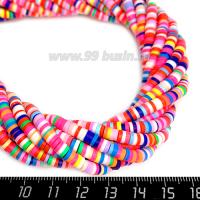 """Бусины """"Диски"""" резиновые, размер 4*1 мм, цветной микс, около 43 см/нить 064203 - 99 бусин"""