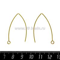 Швензы нержавеющая сталь (Stainless steel) Крючки, размер 39 мм, покрытие оксид титана, цвет золото, 1 пара 064223 - 99 бусин