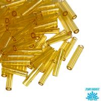 Стеклярус TOHO BUGLE 9 мм № 0002 пшеничный прозрачный 5 граммов Япония 064229 - 99 бусин