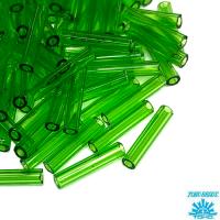 Стеклярус TOHO BUGLE 9 мм № 0007 зелёный прозрачный 5 граммов Япония 064240 - 99 бусин