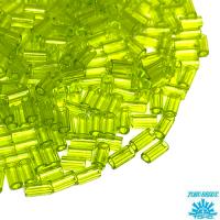 Стеклярус TOHO BUGLE 3 мм № 0004 лайм прозрачный 5 граммов Япония 064241 - 99 бусин