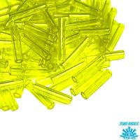 Стеклярус TOHO BUGLE 9 мм № 0012 жёлтый лайм прозрачный 5 граммов Япония 064243 - 99 бусин