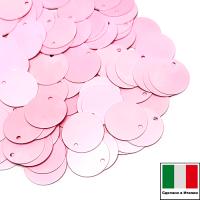 Пайетки Италия лаковые плоские с боковым отверстием 10 мм цвет Rosa (нежно-розовый глянец) 3 грамма 064275 - 99 бусин
