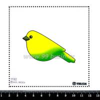 Шаблон для броши Птичка градиент желтый/зелёный 1192, фетр Корея Премиум, толщина 1,25 мм, размер 10*10 см 064342 - 99 бусин