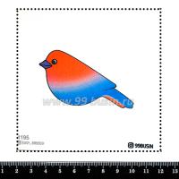 Шаблон для броши Птичка градиент красный/синий 1195, фетр Корея Премиум, толщина 1,25 мм, размер 10*10 см 064344 - 99 бусин