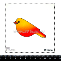 Шаблон для броши Птичка градиент оранжевый/красный 1191, фетр Корея Премиум, толщина 1,25 мм, размер 10*10 см 064347 - 99 бусин
