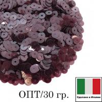 ОПТ! Пайетки Италия LUSTRE 4 мм прозрачные марсала 30 гр. 064383 - 99 бусин