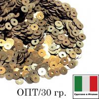 ОПТ! Пайетки 3 мм Италия плоские цвет 2071 Oro antico Metallizzato (античное золото металлик) 30 гр. 064384 - 99 бусин