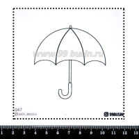 Шаблон для броши Зонт, фетр Корея Премиум, толщина 1,25 мм, размер 10*10 см 064387 - 99 бусин