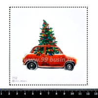 Шаблон для броши Машинка с ёлкой, фетр Корея Премиум, толщина 1,25 мм, размер 10*10 см 064399 - 99 бусин