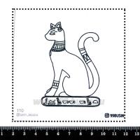 Шаблон для броши Египетская кошка, фетр Корея Премиум, толщина 1,25 мм, размер 10*10 см 064405 - 99 бусин