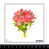 Шаблон для броши Букет тюльпанов 1101, фетр Корея Премиум, толщина 1,25 мм, размер 10*10 см 064471 - 99 бусин