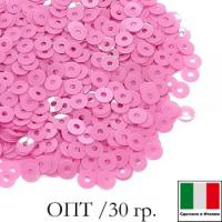 ОПТ! Пайетки 3 мм Италия плоские, цвет 3504 Rosa Fucsia Opaline 30 гр. 064481 - 99 бусин