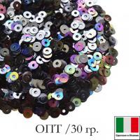 ОПТ Пайетки Италия плоские 3 мм Luna metall. Iridato MI08 (Гематит радужный металлик) 30 граммов 064487 - 99 бусин