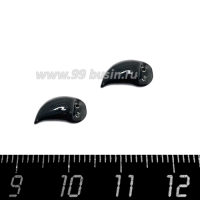 Декоративный элемент Клюв Коршун (левый), пришивной, из полимерной глины, цвет черный, размер около 10-12*4-6 мм, ручная работа, 1 штука 064488 - 99 бусин