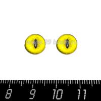 Декоративный элемент Глаза кошки/жёлтый кабашон стеклянный 10 мм, ручная работа, 2 глаза/упаковка 064493 - 99 бусин