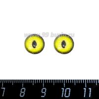 Декоративный элемент Глаза кошки/зелёный кабашон стеклянный 10 мм, ручная работа, 2 глаза/упаковка 064494 - 99 бусин