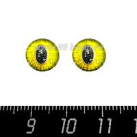 Декоративный элемент Глаза кошки/крупный зрачок, цвет жёлтый кабашон стеклянный 10 мм, ручная работа, 2 глаза/упаковка 064495 - 99 бусин