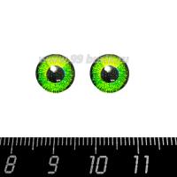 Декоративный элемент Глаза/круглый зрачок/ярко-зелёный, кабашон стеклянный 10 мм, ручная работа, 2 глаза/упаковка 064497 - 99 бусин