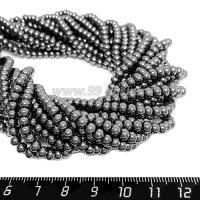 """Натуральный камень ГЕМАТИТ бусины круглые """"Горошек"""" 3*4,5 мм блестящие, цвет натуральный, около 40 см/нить 064528 - 99 бусин"""