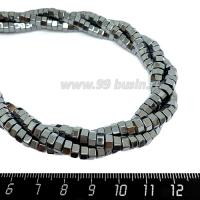 """Натуральный камень ГЕМАТИТ бусины """"Гайка"""" 5*3 мм блестящие, цвет натуральный, около 20 см/нить 064531 - 99 бусин"""