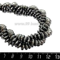 Натуральный камень ГЕМАТИТ спейсер 8*4 мм, цвет натуральный, 20 см/нить 064532 - 99 бусин