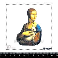 Шаблон для броши Дама с горностаем 1079, фетр Корея Премиум, толщина 1,25 мм, размер 10*10 см 064538 - 99 бусин