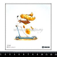 Шаблон для броши Пёсик на самокате 1038 фетр Корея Премиум, толщина 1,25 мм, размер 10*10 см 064554 - 99 бусин