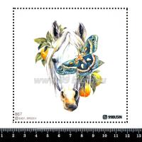Шаблон для броши Лошадь с бабочкой 867 фетр Корея Премиум, толщина 1,25 мм, размер 10*10 см 064574 - 99 бусин