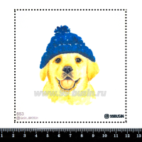 Шаблон для броши Пёсик в шапочке 853 фетр Корея Премиум, толщина 1,25 мм, размер 10*10 см 064576 - 99 бусин