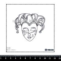 Шаблон для броши Маска 1149 фетр Корея Премиум, толщина 1,25 мм, размер 10*10 см 064581 - 99 бусин