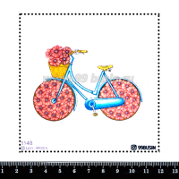 Шаблон для броши Велосипед с цветами 1148 фетр Корея Премиум, толщина 1,25 мм, размер 10*10 см 064582 - 99 бусин