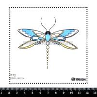 Шаблон для броши Стрекоза 1172 фетр Корея Премиум, толщина 1,25 мм, размер 10*10 см 064604 - 99 бусин