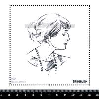 Шаблон для броши Анна Ахматова 592 фетр Корея Премиум, толщина 1,25 мм, размер 10*10 см 064629 - 99 бусин