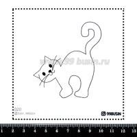 Шаблон для броши Котик 020 фетр Корея Премиум, толщина 1,25 мм, размер 10*10 см 064636 - 99 бусин