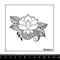 Шаблон для броши Цветок лотоса 260 фетр Корея Премиум, толщина 1,25 мм, размер 10*10 см 064638 - 99 бусин