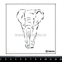 Шаблон для броши Слон 271 фетр Корея Премиум, толщина 1,25 мм, размер 10*10 см 064641 - 99 бусин