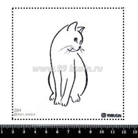 Шаблон для броши Котик 284 фетр Корея Премиум, толщина 1,25 мм, размер 10*10 см 064645 - 99 бусин