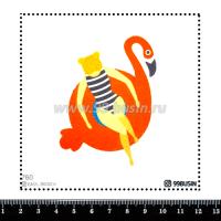 Шаблон для броши Девушка на круге фламинго 760 фетр Корея Премиум, толщина 1,25 мм, размер 10*10 см 064652 - 99 бусин