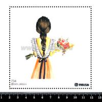 Шаблон для броши Девушка с букетом 734 фетр Корея Премиум, толщина 1,25 мм, размер 10*10 см 064653 - 99 бусин